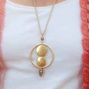 Lucky Brand Semi Precious Gold Lariat Necklace